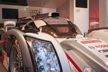 MILAN, ITALY - MAY 17: Audi e-tron quattro car on display at Wired Next Fest, event dedicated to future, innovation and creativity on MAY 17, 2014 in Milan.