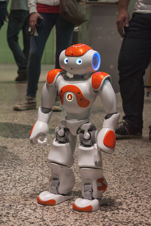 MILAN, ITALY - MAY 17: Nao robot on display at Wired Next Fest, event dedicated to future, innovation and creativity on MAY 17, 2014 in Milan. Фото со стока - 28536031