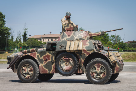 MILAN, ITALY - MAY 18: Italian armored car on display at Militalia, exhibition dedicated to militaria collectors and military associations on MAY 18, 2014 in Milan.