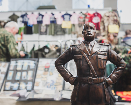MILAN, ITALY - MAY 18: Mussolinis statue on display at Militalia, exhibition dedicated to militaria collectors and military associations on MAY 18, 2014 in Milan.
