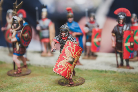 MILAN, ITALY - MAY 18: Toy legionary on display at Militalia, exhibition dedicated to militaria collectors and military associations on MAY 18, 2014 in Milan.