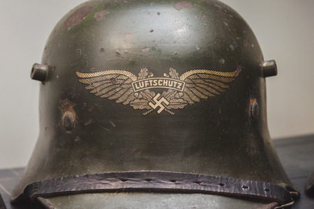 MILAN, ITALY - MAY 18: Nazi helmet on display at Militalia, exhibition dedicated to militaria collectors and military associations on MAY 18, 2014 in Milan.