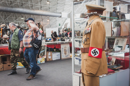 MILAN, ITALY - MAY 18: Nazi uniform on display at Militalia, exhibition dedicated to militaria collectors and military associations on MAY 18, 2014 in Milan.