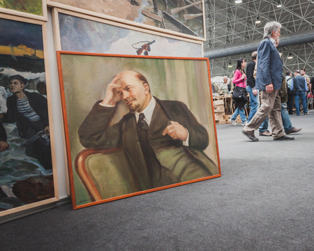 MILAN, ITALY - MAY 18: Lenin painting on display at Militalia, exhibition dedicated to militaria collectors and military associations on MAY 18, 2014 in Milan.