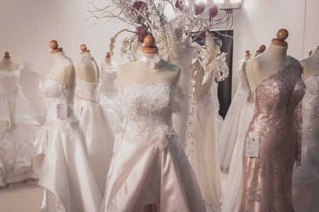 MILAN, ITALY - MAY 23: Elegant ceremony dresses on display at Si Sposaitalia, ultimate exhibition for bridal and formal wear industry on MAY 23, 2014 in Milan.