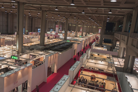 MILAN, ITALY - MAY 23: Top view of booths and people at Si Sposaitalia, ultimate exhibition for bridal and formal wear industry on MAY 23, 2014 in Milan.
