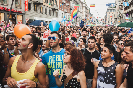 bisexual women: MILAN, ITALY - JUNE 28: People at gay pride parade in Milan JUNE 28, 2014. Thousands of people march in the city streets for the annual gay pride parade, claiming equality and legal rights.  Editorial