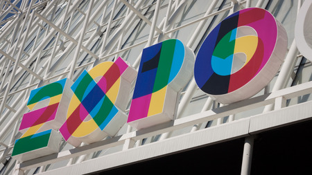 MILAN, ITALY - AUGUST 6, 2014  Expo Milano 2015 logo  With the theme of Feeding the Planet, Energy for Life it is a 184 days huge exhibition and  is expected to welcome over 20 million visitors  Editorial