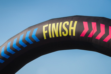MILAN, ITALY - SEPTEMBER 6: Detail of finish sign at the Color Run event, the funniest and most colorful urban running ever on SEPTEMBER 6, 2014 in Milan.