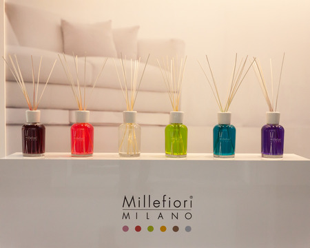 MILAN, ITALY - SEPTEMBER 13: Fragrances on display at HOMI, home international show and point of reference for all those in the sector of interior design on SEPTEMBER 13, 2014 in Milan.