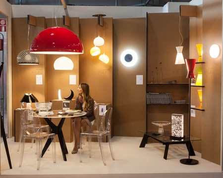 MILAN, ITALY - SEPTEMBER 13: Kriliko stand at HOMI, home international show and point of reference for all those in the sector of interior design on SEPTEMBER 13, 2014 in Milan.
