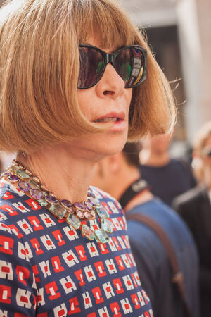MILAN, ITALY - SEPTEMBER 21: Anna Wintour arrives at Ferragamo fashion show building for Milan Womens Fashion Week on SEPTEMBER 21, 2014 in Milan.