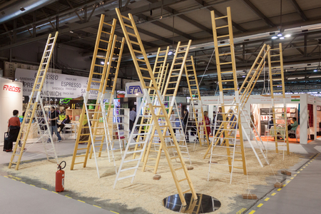 MILAN, ITALY - SEPTEMBER 13: Ladders on display at HOMI, home international show and point of reference for all those in the sector of interior design on SEPTEMBER 13, 2014 in Milan.
