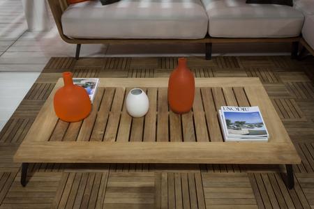 MILAN, ITALY - SEPTEMBER 13: Table on display at HOMI, home international show and point of reference for all those in the sector of interior design on SEPTEMBER 13, 2014 in Milan.
