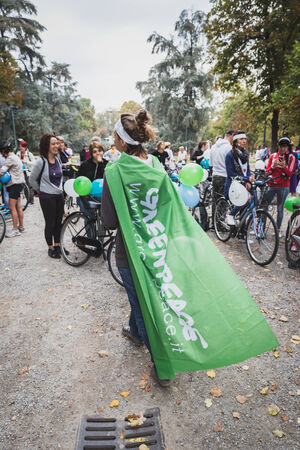 MILAN, ITALY - OCTOBER 4: People take part in the Ice Ride, global bike event organized by Greenpeace to demand protection for the Arctic on OCTOBER 4, 2014 in Milan.