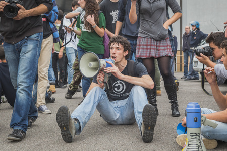 MILAN, ITALY - OCTOBER 10: Students inside the education agency building protest agaist money cuts in the public school on OCTOBER 10, 2014 in Milan. Editorial
