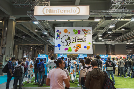 MILAN, ITALY - OCTOBER 24: People visit Games Week 2014, event dedicated to video games and electronic entertainment on OCTOBER 24, 2014 in Milan.