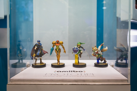 MILAN, ITALY - OCTOBER 24: Prototypes of Nintendo Amiibos on display at Games Week 2014, event dedicated to video games and electronic entertainment on OCTOBER 24, 2014 in Milan.