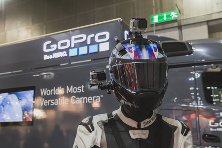 MILAN, ITALY - NOVEMBER 5: GoPro camera on display at EICMA, international motorcycle exhibition on NOVEMBER 5, 2014 in Milan. Editorial
