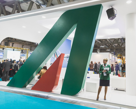 reference point: MILAN, ITALY - FEBRUARY 13: Alitalia stand at Bit, international tourism exchange reference point for the travel industry on FEBRUARY 13, 2015 in Milan.