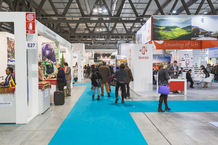 exhibition crowd: MILAN, ITALY - FEBRUARY 13: People visit Bit, international tourism exchange reference point for the travel industry on FEBRUARY 13, 2015 in Milan.