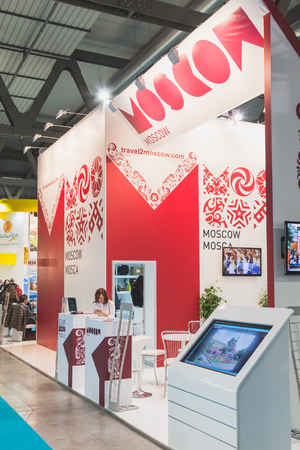 reference point: MILAN, ITALY - FEBRUARY 13: Russian stand at Bit, international tourism exchange reference point for the travel industry on FEBRUARY 13, 2015 in Milan.