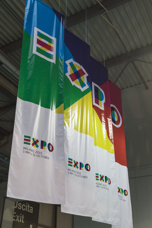 reference point: MILAN, ITALY - FEBRUARY 13: Expo banners at Bit, international tourism exchange reference point for the travel industry on FEBRUARY 13, 2015 in Milan.