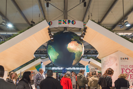 reference point: MILAN, ITALY - FEBRUARY 13: Expo stand at Bit, international tourism exchange reference point for the travel industry on FEBRUARY 13, 2015 in Milan.