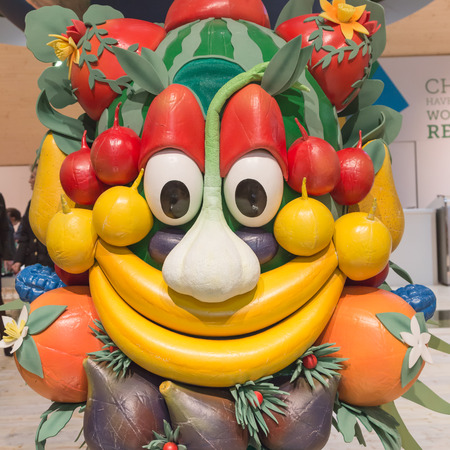 reference point: MILAN, ITALY - FEBRUARY 13: Mascot Foody poses at Bit, international tourism exchange reference point for the travel industry on FEBRUARY 13, 2015 in Milan. Editorial
