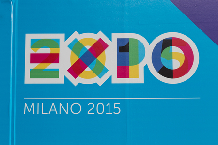 reference point: MILAN, ITALY - FEBRUARY 13: Detail of Expo logo at Bit, international tourism exchange reference point for the travel industry on FEBRUARY 13, 2015 in Milan.
