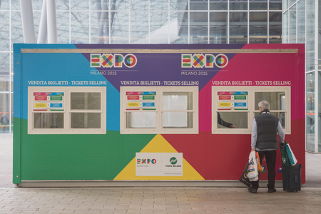 reference point: MILAN, ITALY - FEBRUARY 13: Expo tickets selling booth at Bit, international tourism exchange reference point for the travel industry on FEBRUARY 13, 2015 in Milan. Editorial
