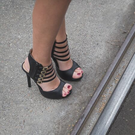 gucci: MILAN, ITALY - FEBRUARY 25: Detail of female shoes outside Gucci fashion show building for Milan Womens Fashion Week on FEBRUARY 25, 2015  in Milan. Editorial
