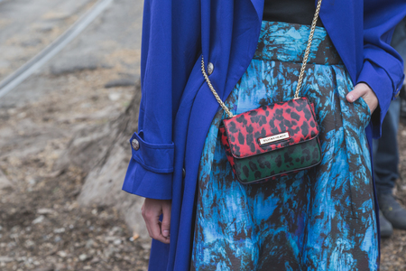 gucci: MILAN, ITALY - FEBRUARY 25: Detail of bag outside Gucci fashion show building for Milan Womens Fashion Week on FEBRUARY 25, 2015  in Milan.