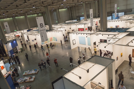 MILAN, ITALY - APRIL 10: Top view of people and booths at Miart, international exhibition of modern and contemporary art on APRIL 10, 2015 in Milan.