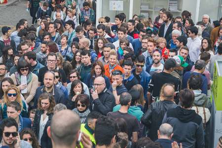 crowded space: MILAN, ITALY - APRIL 18: Crowd at Fuorisalone, series of important and interesting events all around the town during Milan Design Week on APRIL 18, 2015 in Milan. Editorial