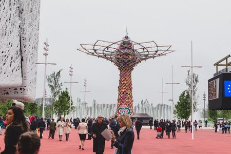 MILAN, ITALY - MAY 1: People visit Expo, universal exposition on the theme of food on MAY 1, 2015 in Milan. Editorial