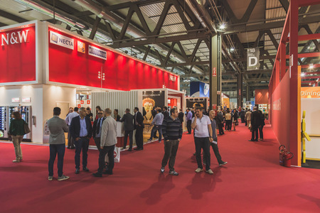 culinary tourism: MILAN, ITALY - MAY 4: People visit Tuttofood, world food exhibition on MAY 4, 2015 in Milan.