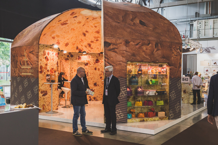 culinary tourism: MILAN, ITALY - MAY 4: People visiting Tuttofood, world food exhibition on MAY 4, 2015 in Milan. Editorial