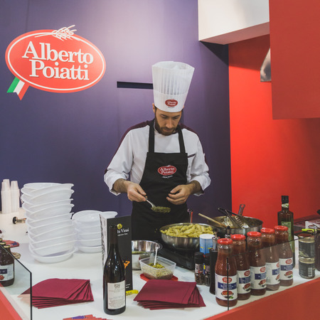 culinary tourism: MILAN, ITALY - MAY 4: Cook working at Tuttofood, world food exhibition on MAY 4, 2015 in Milan. Editorial