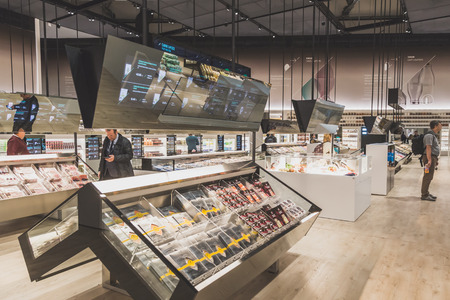 MILAN, ITALY - MAY 4: Futuristic supermarket at Expo, universal exposition on the theme of food on MAY 4, 2015 in Milan.