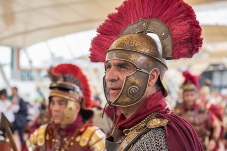 MILAN, ITALY - MAY 25: Historical Roman Group takes part in Expo, universal exposition on the theme of food on MAY 25, 2015 in Milan.