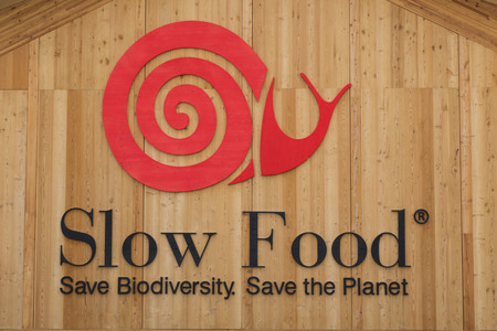 MILAN, ITALY - JUNE 1: Slow Food sign at Expo, universal exposition on the theme of food on JUNE 1, 2015 in Milan.