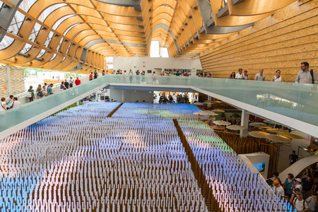 the world expo: MILAN, ITALY - JUNE 5: Inside China pavilion at Expo, universal exposition on the theme of food on JUNE 5, 2015 in Milan.