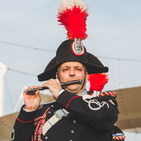 fanfare: MILAN, ITALY - JUNE 5: Carabinieri brass band performs at Expo, universal exposition on the theme of food on JUNE 5, 2015 in Milan.