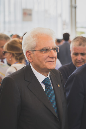 sergio: MILAN, ITALY - JUNE 5: Italian President Sergio Mattarella visits Expo, universal exposition on the theme of food on JUNE 5, 2015 in Milan.