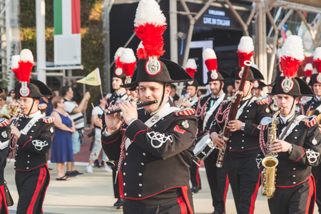 brass  band: MILAN, ITALY - JUNE 5: Carabinieri brass band performs at Expo, universal exposition on the theme of food on JUNE 5, 2015 in Milan.