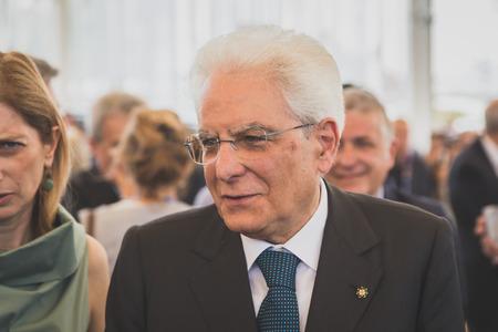 MILAN, ITALY - JUNE 5: Italian President Sergio Mattarella visits Expo, universal exposition on the theme of food on JUNE 5, 2015 in Milan.