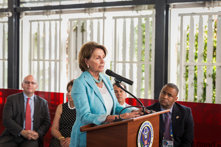 MILAN, ITALY - AUGUST 3: Nancy Pelosi makes a speech inside USA pavilion at Expo, universal exposition on the theme of food on AUGUST 3, 2015 in Milan. Publikacyjne