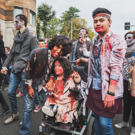 gore: MILAN, ITALY - OCTOBER 25: People take part in the Zombie Walk, social event in the city streets just before Halloween on OCTOBER 25, 2014 in Milan.
