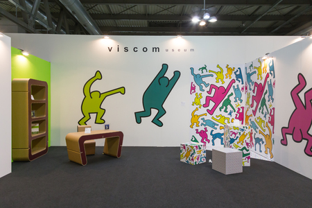MILAN, ITALY - OCTOBER 16: Modern art corner at Viscom, international trade fair and conference on visual communication and event services on OCTOBER 16, 2015 in Milan.